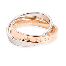 Tiffany & Co. 18K Rose Gold, Sterling Silver Ring Size 6