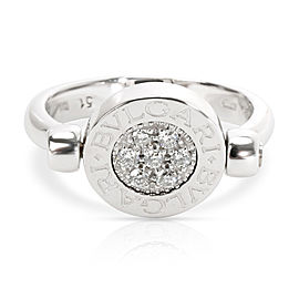 Bulgari 18K White Gold Diamond, Onyx Ring Size 5