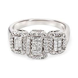 Illusion Set Diamond Three Station Ring in 18K White Gold (1.00 CTW)