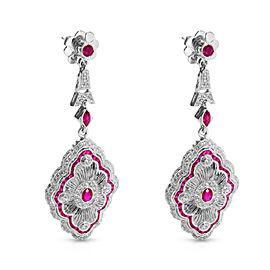 18K White Gold Diamond, Ruby Earrings