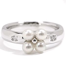 Mikimoto 18K WG Cultured Pearl, Diamond Ring Size 5.25