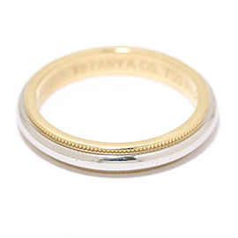 TIFFANY Co.18K YG/ Platinum Milgrain Ring Size 6.25