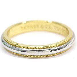 TIFFANY Co. 18K YG/ Platinum Milgrain Band Ring Size7.25