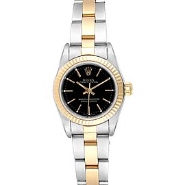 Rolex Oyster Perpetual Black Dial Steel Yellow Gold Ladies Watch 76193