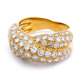 Van Cleef & Arpels 750 Yellow Gold Pave Diamond Ring Size 6