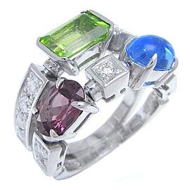 Bvlgari Allegra Peridot Diamond Tourmaline Topaz Ring Size 4.75