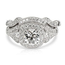 Polenza Diamond Engagement Wedding Set in 18K White Gold J SI1 (GIA) 1.30 CTW
