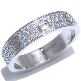 CARTIER 18K WG Mini Love Paved Diamond Ring Size 4