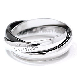 Cartier 18K WG Black Ceramic Trinity Ring Size 9.5