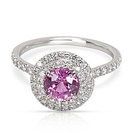 Tiffany & Co. Pink Soleste Sapphire Diamond Engagement Ring in Platinum 0.36 CT