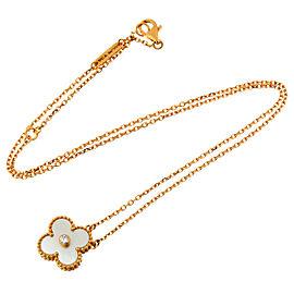 Van Cleef & Arpels PG Vintage Alhambra Diamond Shell Pendant Necklace