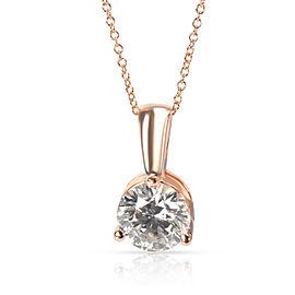 IGI Certified Diamond Solitaire Necklace in 14K Rose Gold I-J VS1-VS2 3.06CTW