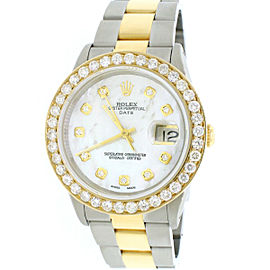 Rolex Date 2-Tone 18K Gold & SS 34mm Automatic Oyster Watch 2.7ct Diamond Bezel