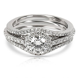Forevermark Diamond Wedding Set in 18K White Gold H SI2 1.30 CTW