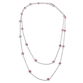 Pink Sapphire Diamonds by the Yard Necklace in Platinum 5.25 ctw