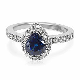 Diamond Halo Sapphire Gemstone ring in 14KT White Gold 1.31 ctw