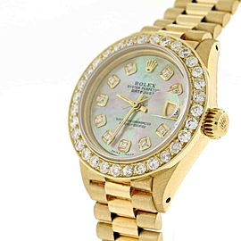 Rolex President Datejust Ladies Gold 26mm w/Tahitian Diamond Dial & 1.35Ct Bezel