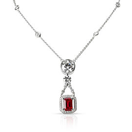 Roberto Coin Certified Burma Ruby & Diamond Necklace in 18K White Gold 5.77 CTW