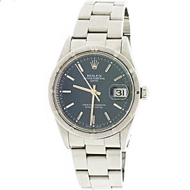 Rolex Date 34mm Blue Index Dial Automatic Stainless Steel Oyster Watch 15210
