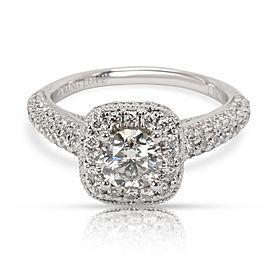 Vera Wang Love Collection Halo Diamond Engagement Ring in 18K White Gold 1.7 CTW
