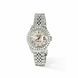 Rolex Datejust Steel 26mm Jubilee Watch White MOP 1.3CT Diamond Bezel & Dial