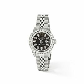 Rolex Datejust Steel 26mm Watch Rhodium Grey Baguette 1.3CT Diamond Bezel & Dial