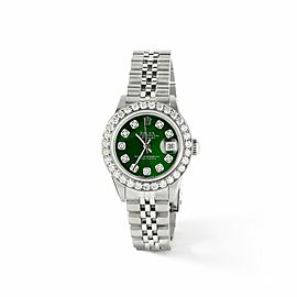 Rolex Datejust Steel 26mm Jubilee Watch Green MOP 1.3CT Diamond Bezel & Dial