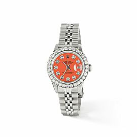 Rolex Datejust Steel 26mm Jubilee Watch Orange Diamond Dial/Bezel