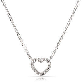 Tiffany & Co. Metro Mini Diamond Heart Necklace in 18K White gold 0.15 ctw