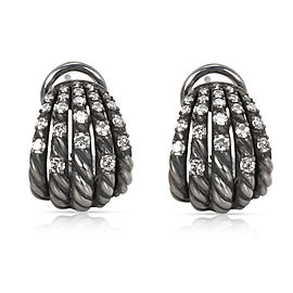 David Yurman Tempo Diamond Earrings in Darkened Sterling Silver 0.61CTW