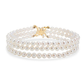 Tiffany & Co. Triple-Strand Pearl Bracelet with Diamond Clasp