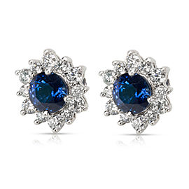 Tiffany & Co. Sapphire & Diamond Earrings in Platinum 1.06 CTW