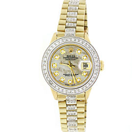 Rolex President Datejust Gold Ladies 26mm Watch MOP Diamond Dial, Bezel Bracelet