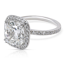 GIA Certified Cushion Cut Halo Diamond Engagement Ring in Platinum G VS1 4.48CTW