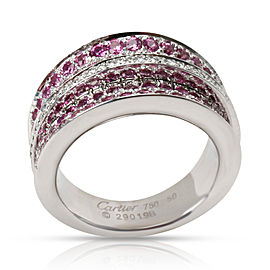 Cartier Paris Pink Sapphire & Diamond Ring in 18K White Gold 1.40 CTW