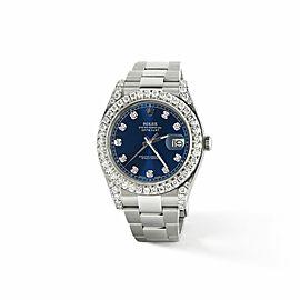 Rolex Datejust II Steel 41mm Watch 4.5CT Diamond Bezel/Lugs/Royal Blue Dial