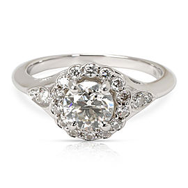 Blue Nile 0.92ct J SI2 Platinum Engagement RIng with 0.30cts Side Diamonds