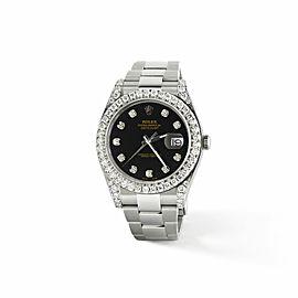 Rolex Datejust II Steel 41mm Watch 4.5CT Diamond Bezel/Lugs/Black Dial
