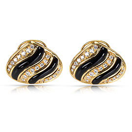 Black Onyx & Diamond Earrings in 18K Yellow Gold 1.5CTW