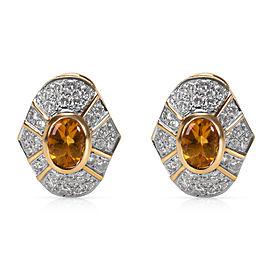 Citrine & Diamond Earrings in 18KT Yellow Gold 1.20 ctw