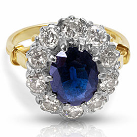 Diamond & Sapphire Oval Fashion Ring in 18k Yellow Gold (1.25 CTW)