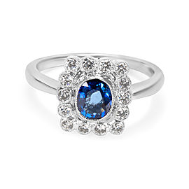 Vintage Style Sapphire & Diamond Halo Ring In 18k White Gold 0.27 CTW