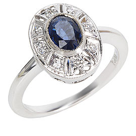 Diamond & Sapphire Vintage Style Ring in 18K White Gold (0.10 CTW)