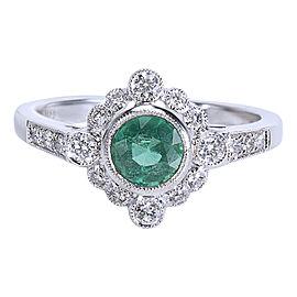 Diamond & Emerald Vintage Style Ring 18K White Gold (0.87 CTW)