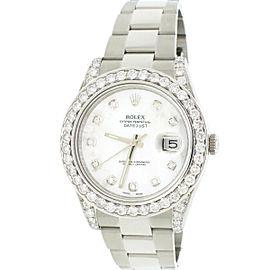 Rolex Datejust II 41mm SS Oyster Watch White MOP Diamond Dial & Bezel Box Papers