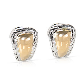 John Hardy Palu Hammered Earrings in Sterling Silver & 22K Yellow Gold