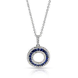 Blue Sapphire & Diamond Circle Pendant in 14K White Gold 0.5 CTW