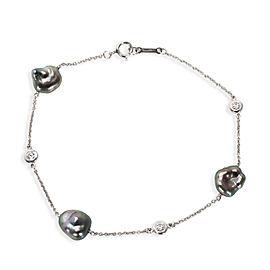 Tiffany & Co. Elsa Peretti Diamond & Tahitian Keshi Pearl Bracelet in Platinum