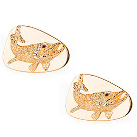 Tiffany & Co Antique Fish Cufflinks in 14k Yellow Gold with Rubies