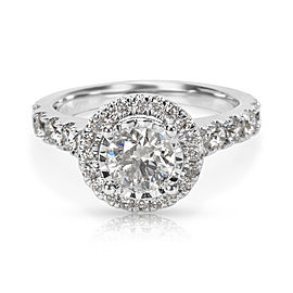IGI Certified Kay Diamond Halo Engagement Ring in 14K White Gold (1.35 CTW)